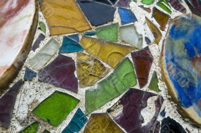 Detail of the ceramics from the Casa Batllo in Barcelona, Spain.