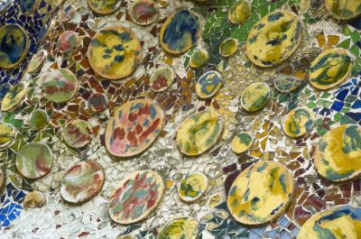 Detail of the ceramics from the Casa Batllo in Barcelona, Spain