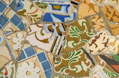 Detail of the ceramics from the Guadi bench in park Guell Barcelona, Spain