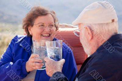 Happy Senior Adult Couple with Drinks