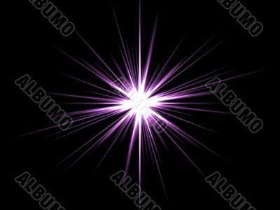 Violet star on a black background.