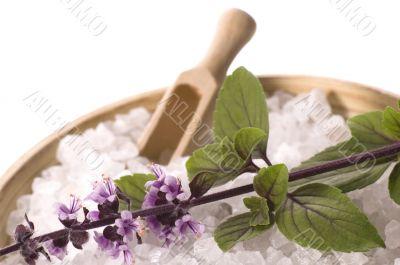 aroma bath. sea salt and basil with flowers
