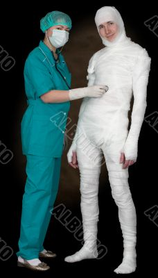 Man in bandage and nurse with stethoscope