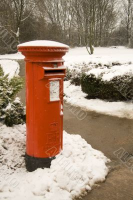British post box in the snow