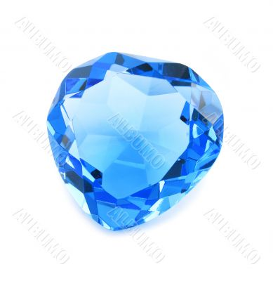 Heart shaped blue crystal isolated