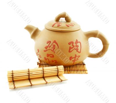 Japanese teapot and wooden stand
