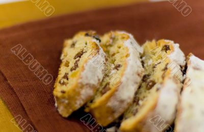 baked cake with raisins