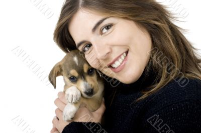 Woman with a puppy