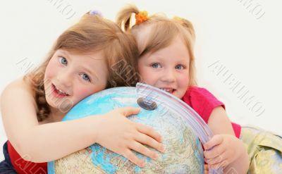 Happy, girls,kids,Siblings, globe.