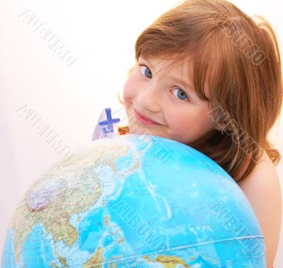 Girl travel globe.