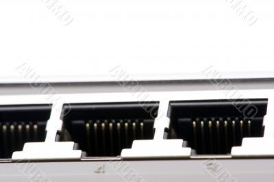 connecting ethernet switch close up
