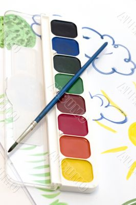watercolour and child`s paintig