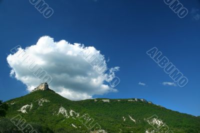 Top of a mountain, lblue sky and cloud /  panorama