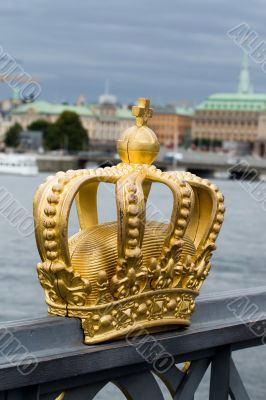 Golden crown on the bridge