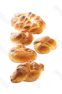 bun with sultana closeup on white