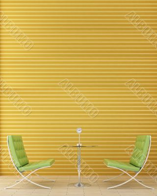 Two green chairs