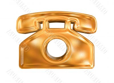 Golden pattern phone icon concept isolated over white background