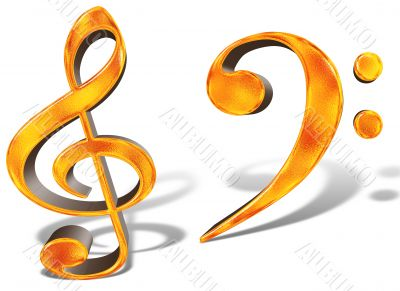 Golden pattern musical notes concept isolated on white