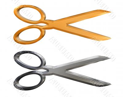 Golden pattern and chrome silver scissors isolated over white background