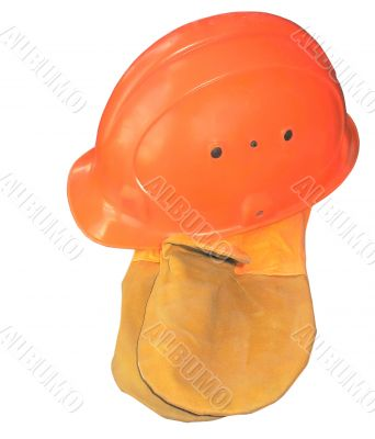 Orange construction helmet with glove mittens isolated on white background