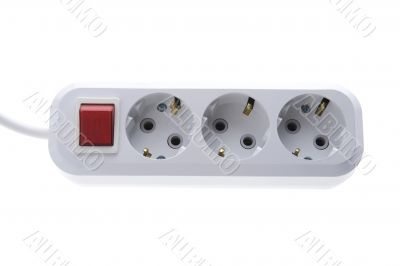 Electric socket and outlet on white