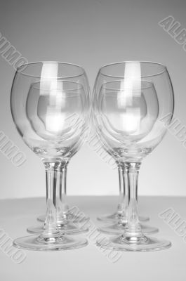 Still-life with empty glasses