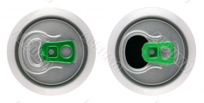 Opened and closed beverage cans
