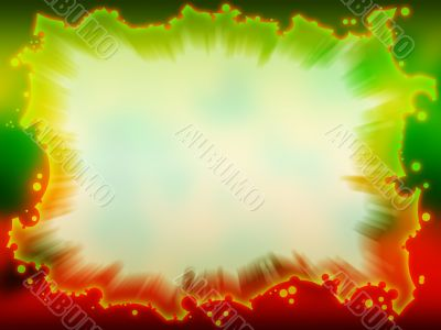 Fantastic green - red frame with blurred background