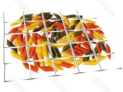 three colour penne italian pasta collage