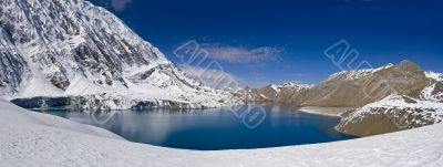 The mountain lake on the highest altitude in the world