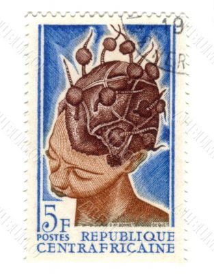central african stamp with woman