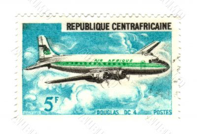 central african stamp with airplane 5F