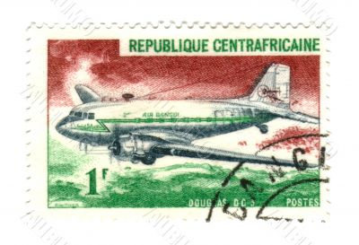 central african stamp with airplane
