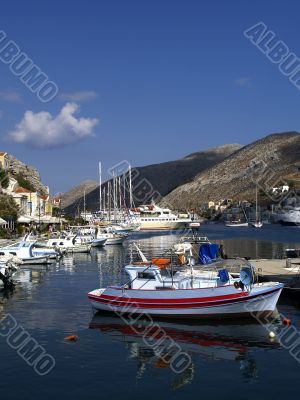 Boats in harbour of island Symi
