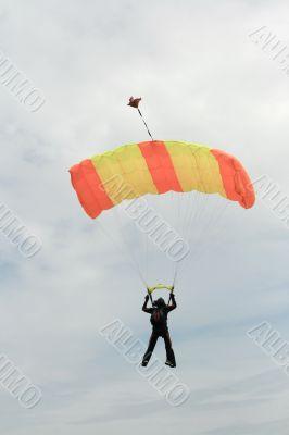 black skydiver
