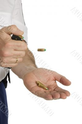 clicking bullets out of the holder with flying bullet