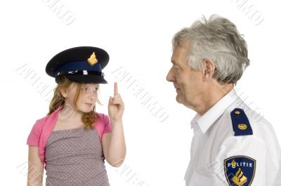 girl is warning a dutch police officer