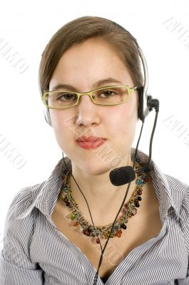 Young women with headset