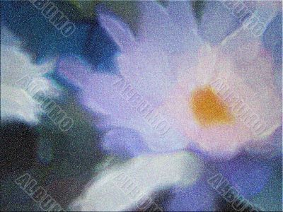 Painterly Lotus with strong intentional grain