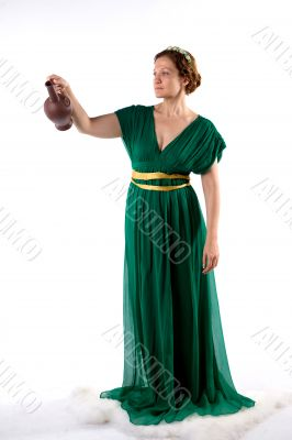 Lady in green handing jug
