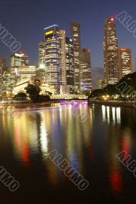 Singapore business district at night