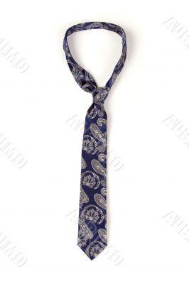 Blue man`s necktie on white background