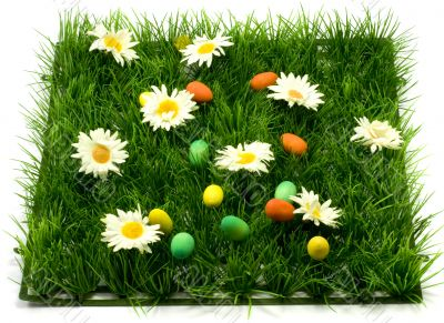 Easter grass and eggs