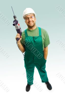 smiled workman with drill