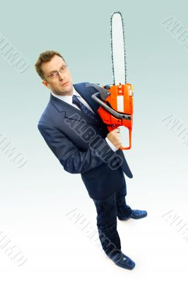businessman with saw