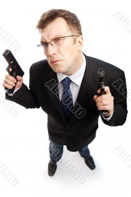 Criminal businessman looked up
