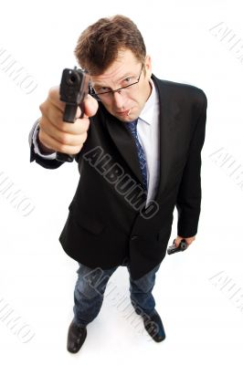 Angry criminal businessman on camera