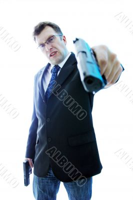 Angry criminal businessman in blue