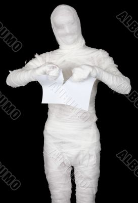 Mummy tear in pieces sheet of paper