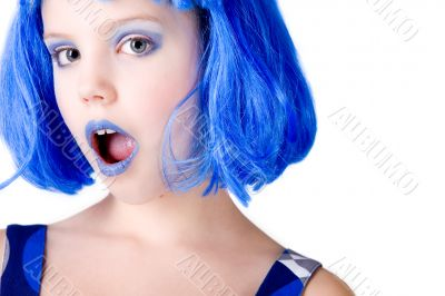 Girl with a blue wig